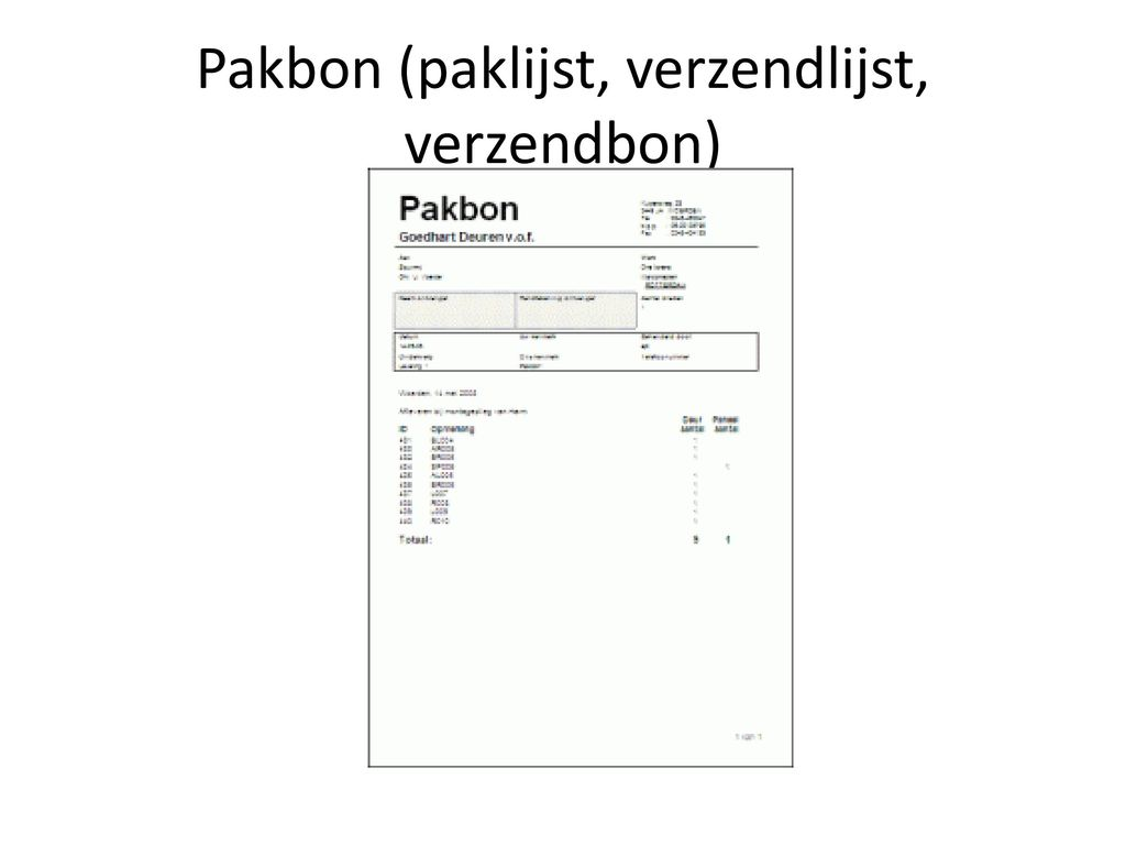 Pakbon (paklijst, verzendlijst, verzendbon)