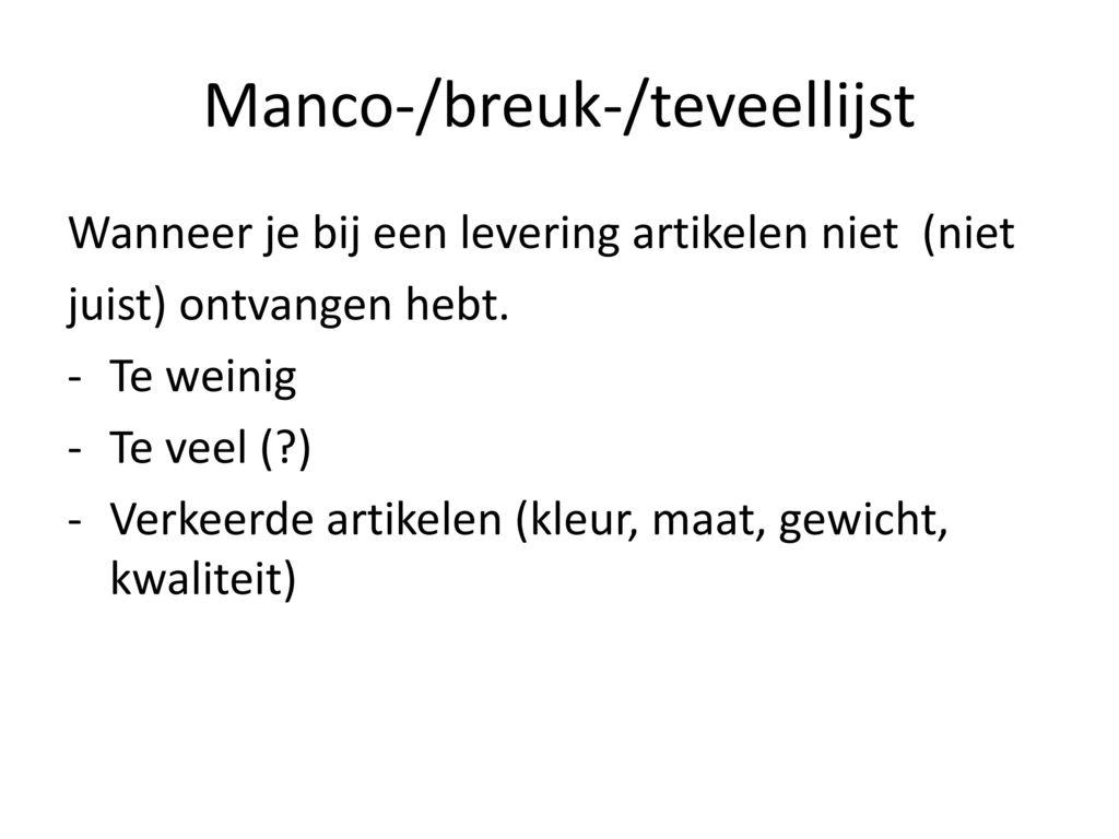 Manco-/breuk-/teveellijst