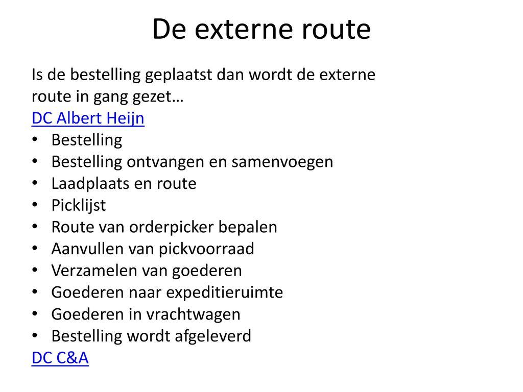 De externe route Is de bestelling geplaatst dan wordt de externe