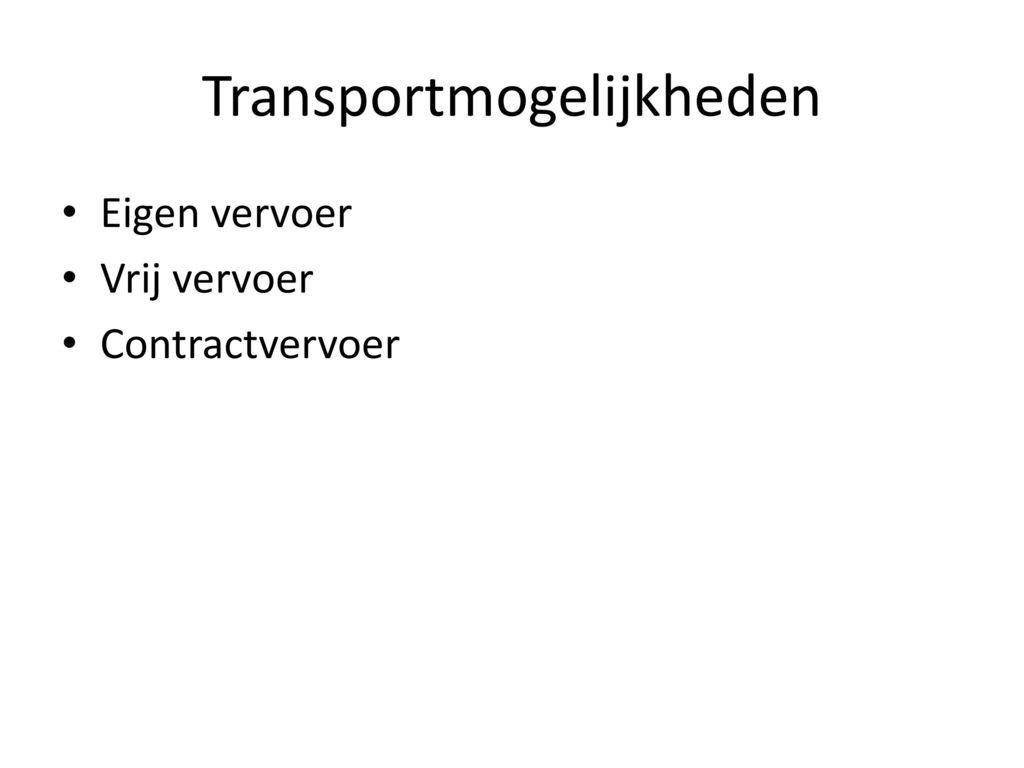 Transportmogelijkheden