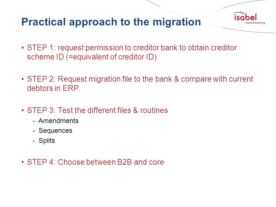 Practical approach to the migration