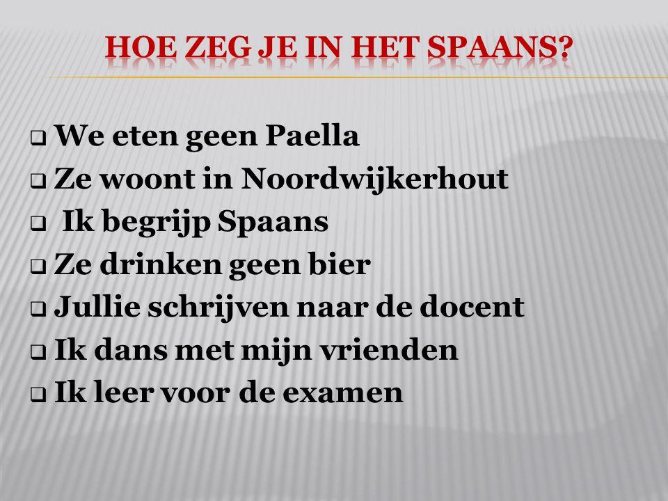 Hoe zeg je in het Spaans We eten geen Paella. Ze woont in Noordwijkerhout. Ik begrijp Spaans. Ze drinken geen bier.