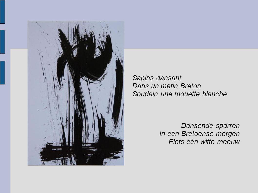 Sapins dansant Dans un matin Breton. Soudain une mouette blanche. Dansende sparren. In een Bretoense morgen.