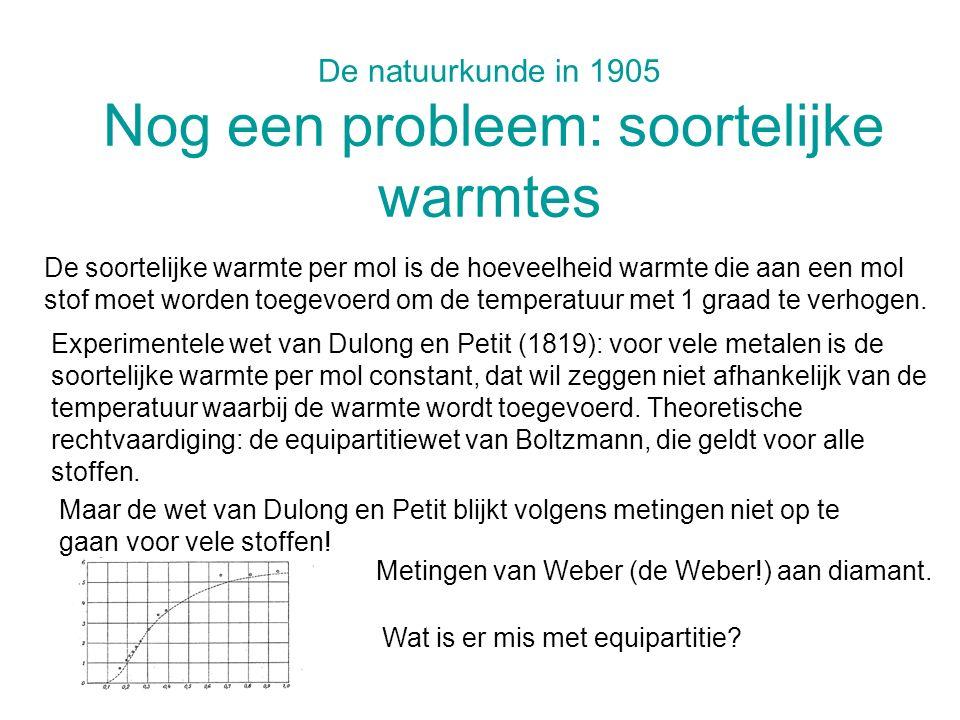 De natuurkunde in 1905 Nog een probleem: soortelijke warmtes