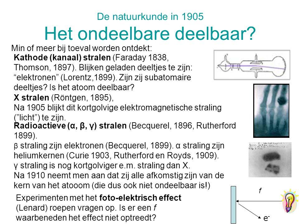 De natuurkunde in 1905 Het ondeelbare deelbaar