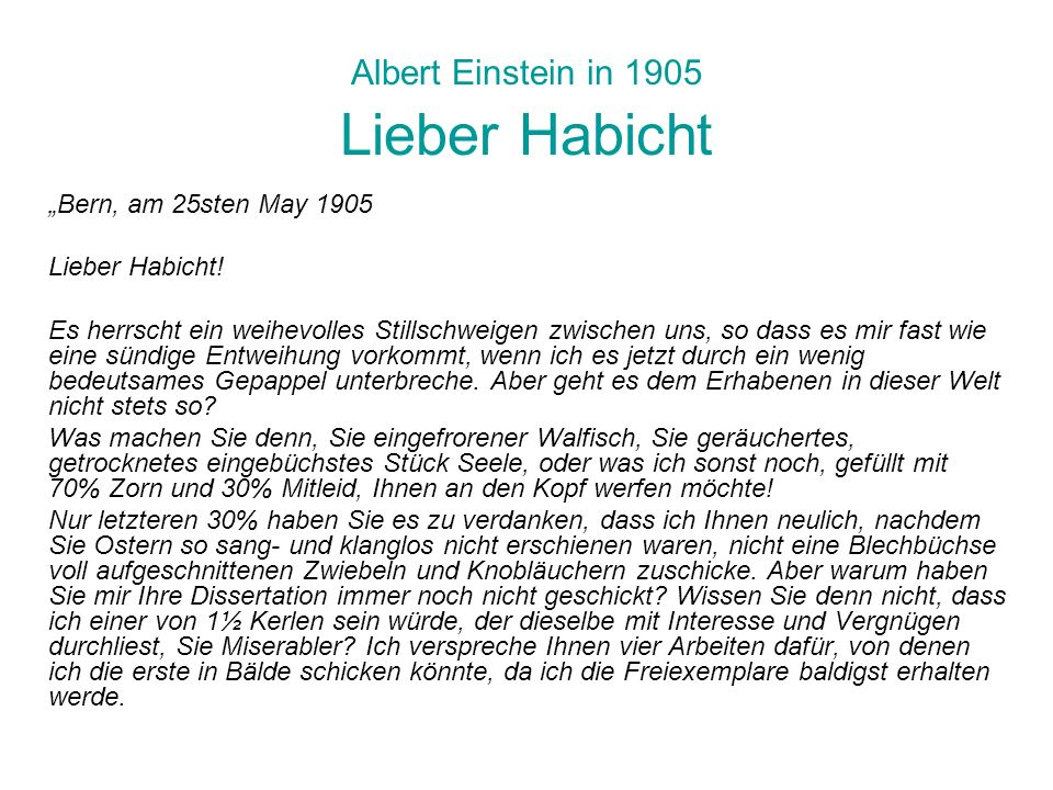 Albert Einstein in 1905 Lieber Habicht