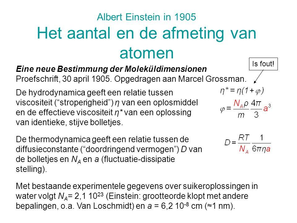 Albert Einstein in 1905 Het aantal en de afmeting van atomen