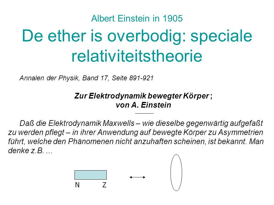 Zur Elektrodynamik bewegter Körper ;