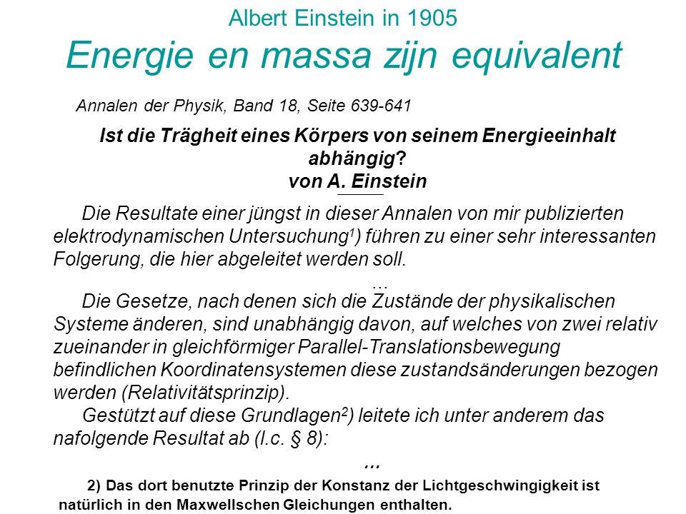 Energie en massa zijn equivalent