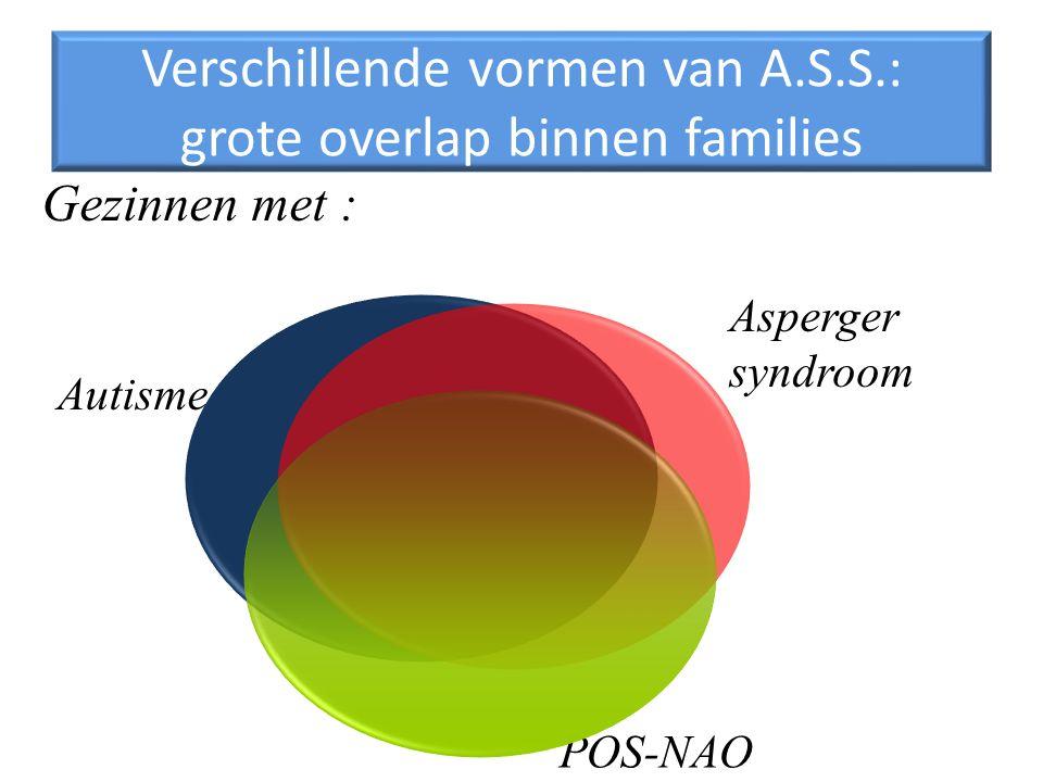 Verschillende vormen van A.S.S.: grote overlap binnen families