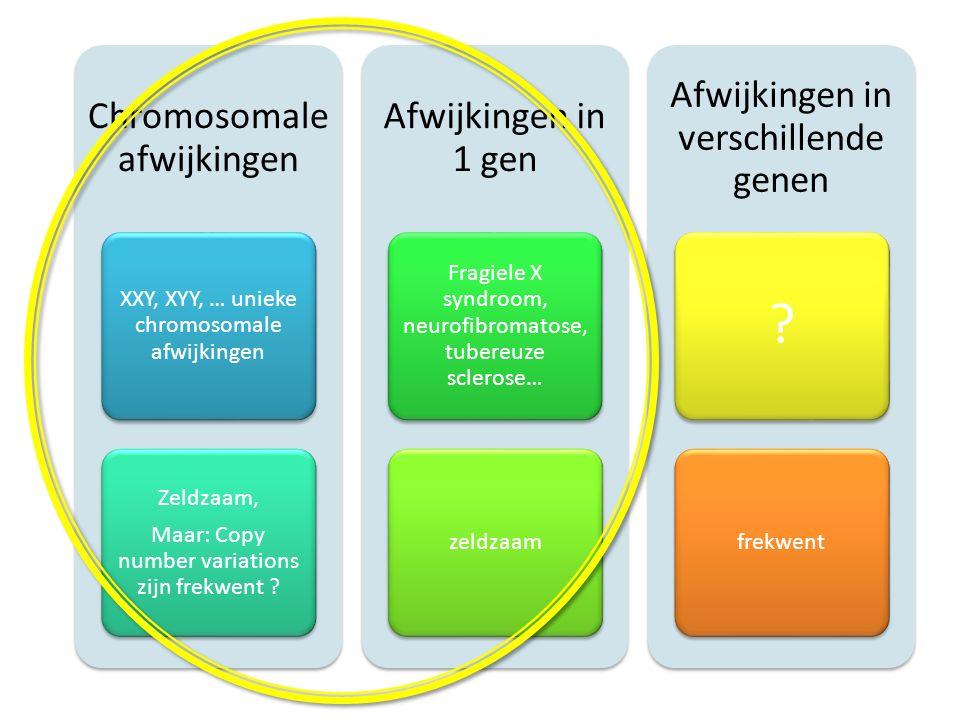 Chromosomale afwijkingen XXY, XYY, … unieke chromosomale afwijkingen