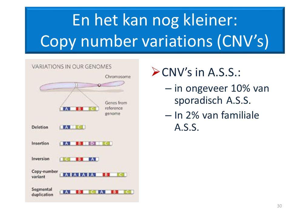 En het kan nog kleiner: Copy number variations (CNV's)