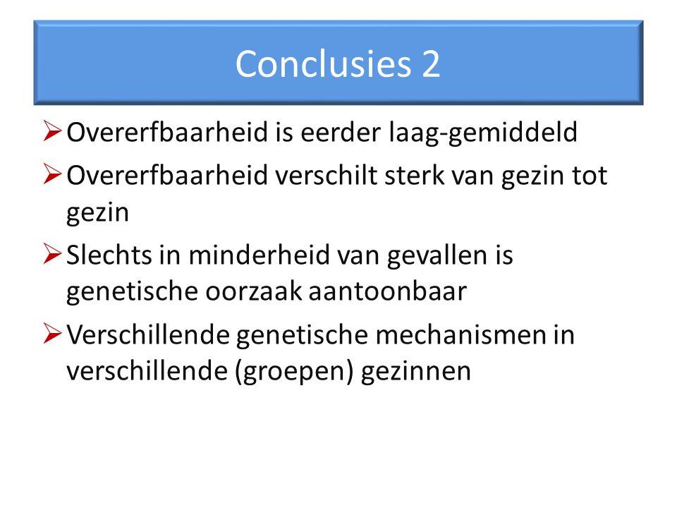Conclusies 2 Overerfbaarheid is eerder laag-gemiddeld