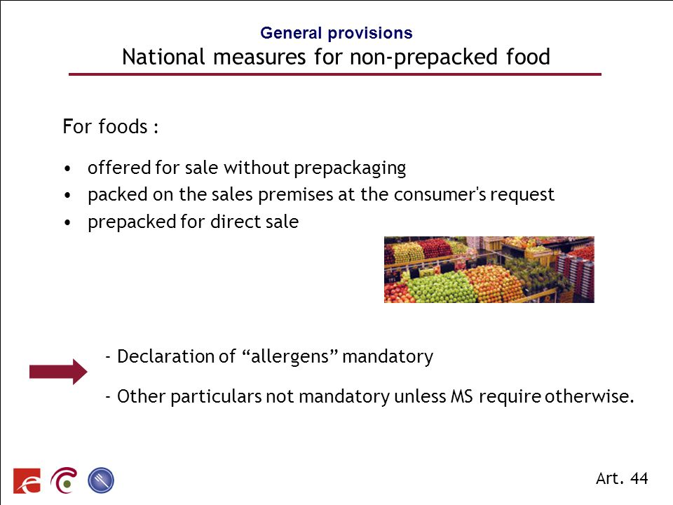 General provisions National measures for non-prepacked food