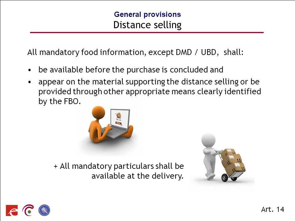 General provisions Distance selling