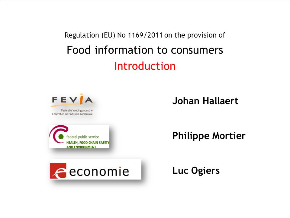 Food information to consumers Introduction