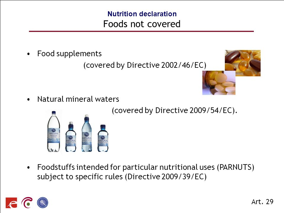 Nutrition declaration Foods not covered