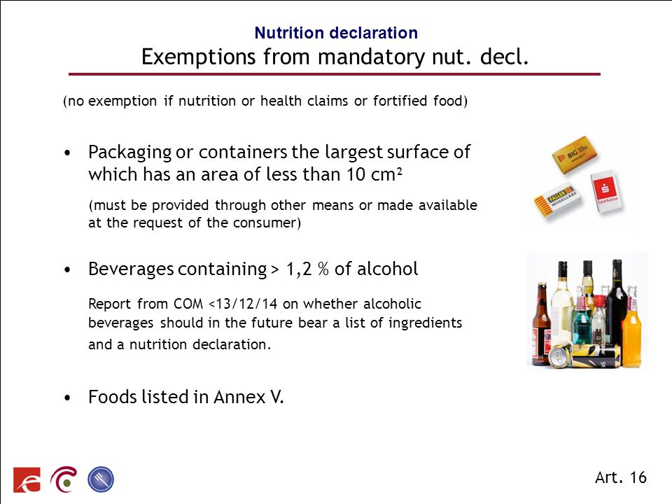 Nutrition declaration Exemptions from mandatory nut. decl.