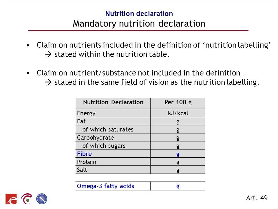 Nutrition declaration Mandatory nutrition declaration