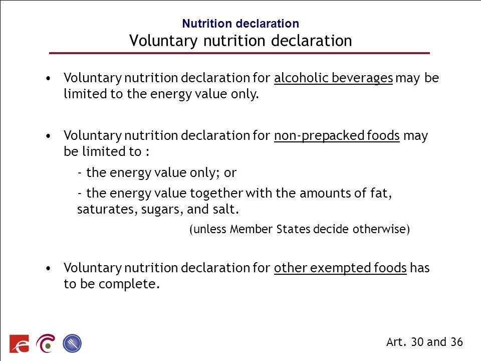 Nutrition declaration Voluntary nutrition declaration
