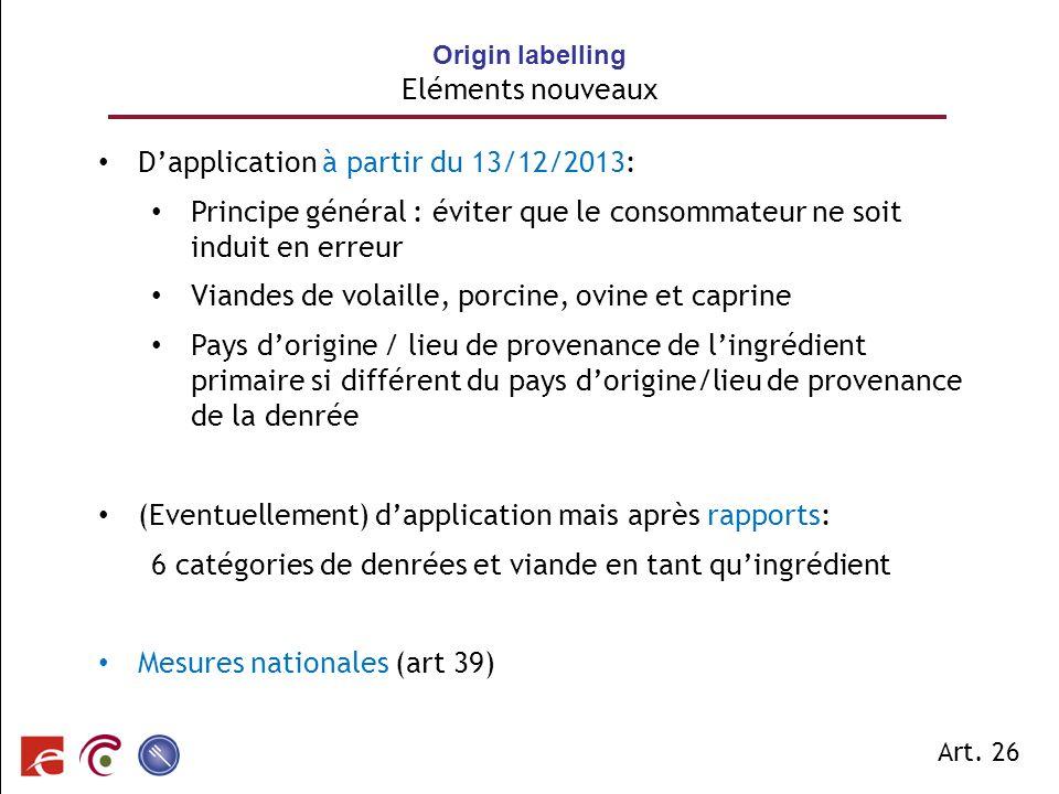 Origin labelling Eléments nouveaux