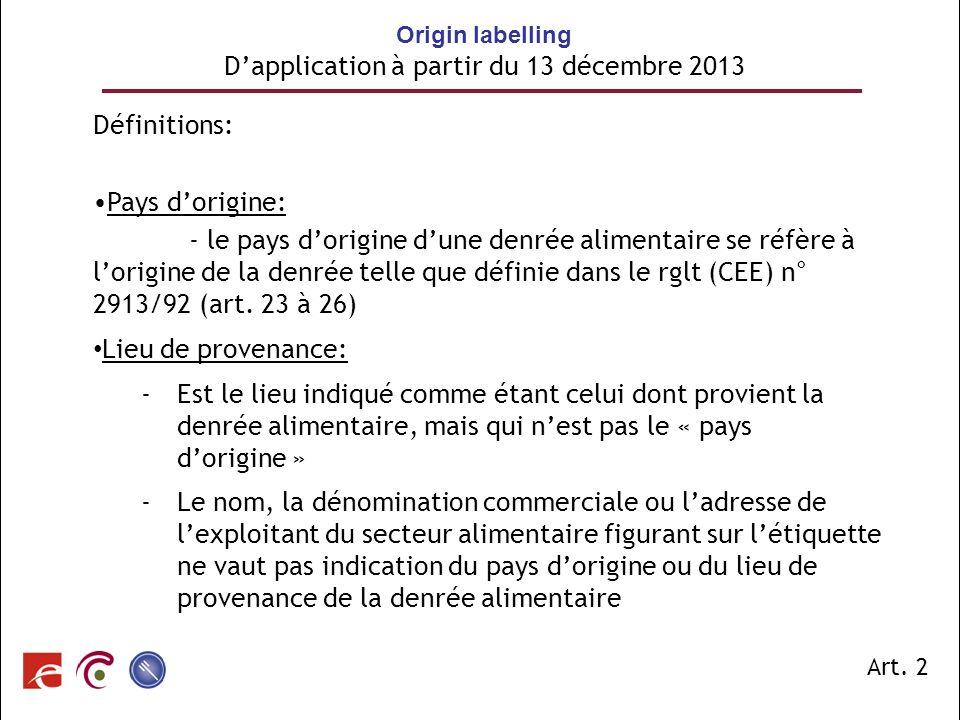 Origin labelling D'application à partir du 13 décembre 2013