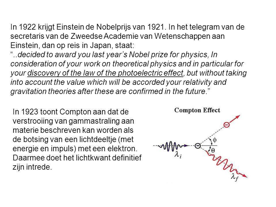 In 1922 krijgt Einstein de Nobelprijs van 1921