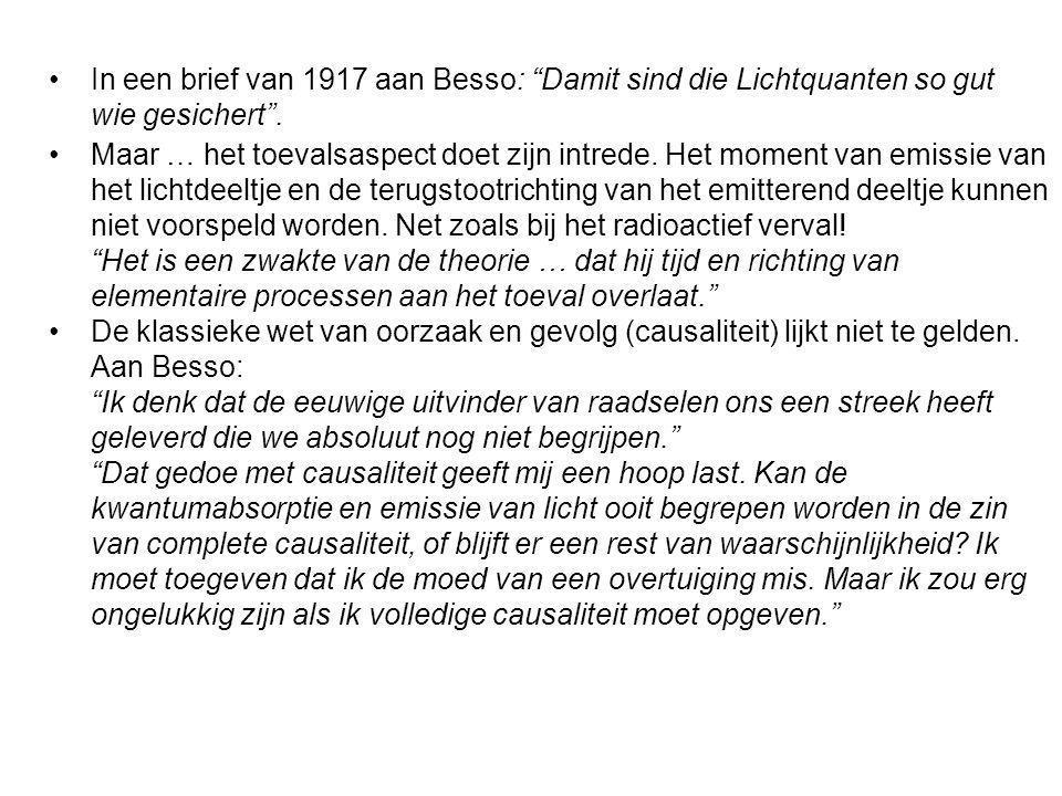 In een brief van 1917 aan Besso: Damit sind die Lichtquanten so gut wie gesichert .