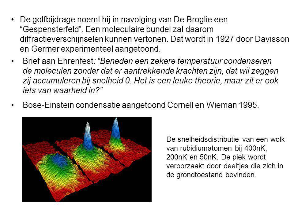Bose-Einstein condensatie aangetoond Cornell en Wieman 1995.