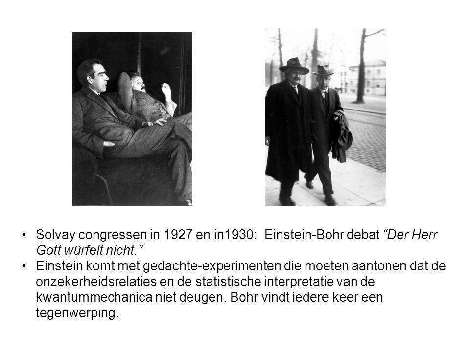 Solvay congressen in 1927 en in1930: Einstein-Bohr debat Der Herr Gott würfelt nicht.