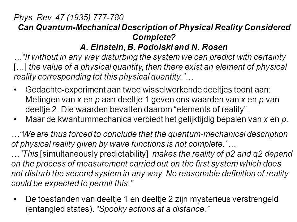 A. Einstein, B. Podolski and N. Rosen