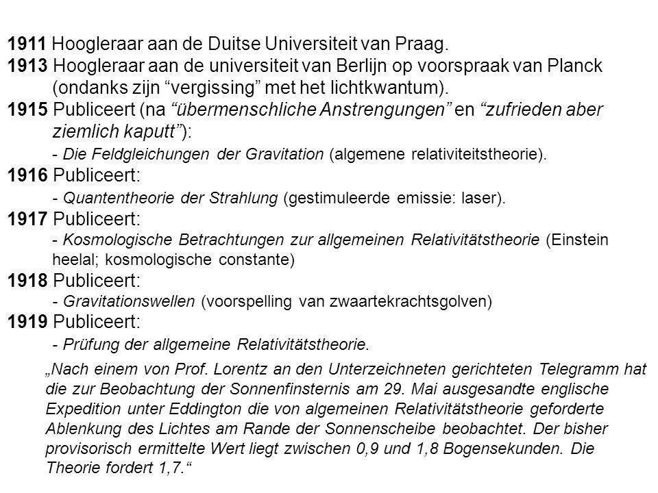 1911 Hoogleraar aan de Duitse Universiteit van Praag.