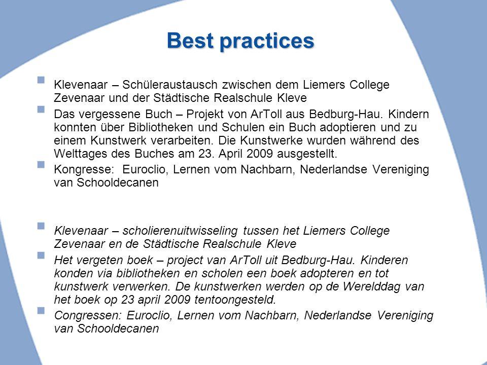 Best practices Klevenaar – Schüleraustausch zwischen dem Liemers College Zevenaar und der Städtische Realschule Kleve.