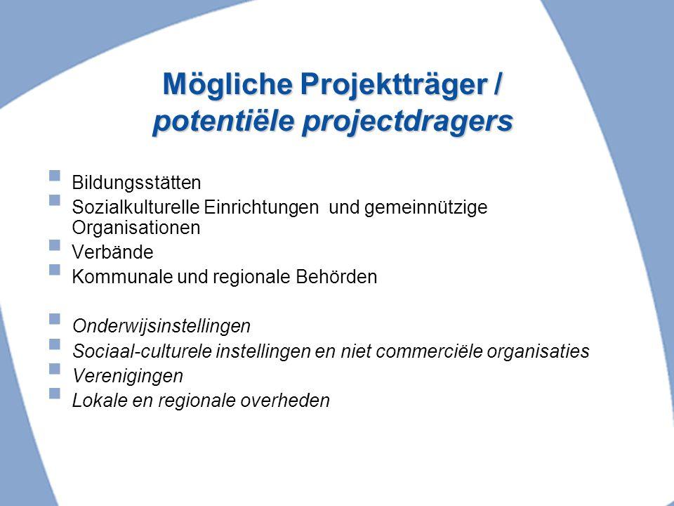 Mögliche Projektträger / potentiële projectdragers