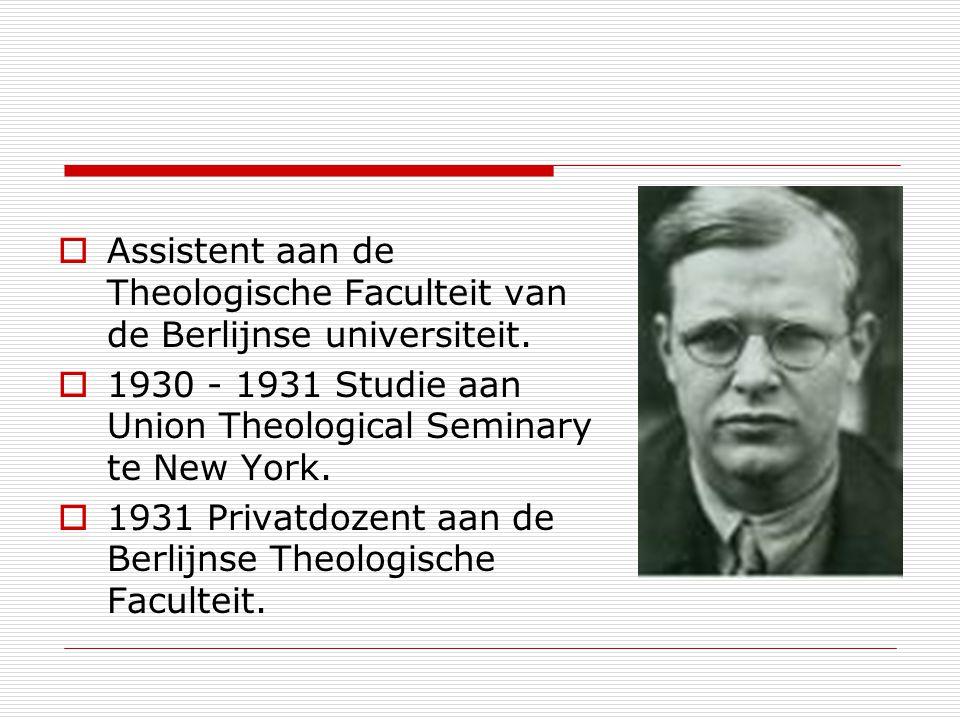Assistent aan de Theologische Faculteit van de Berlijnse universiteit.