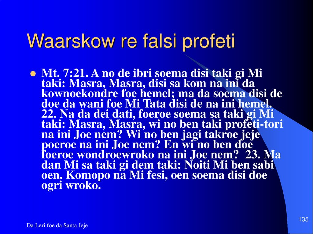 Waarskow re falsi profeti