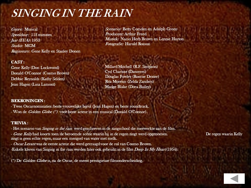 SINGING IN THE RAIN Genre: Musical Speelduur: 118 minuten