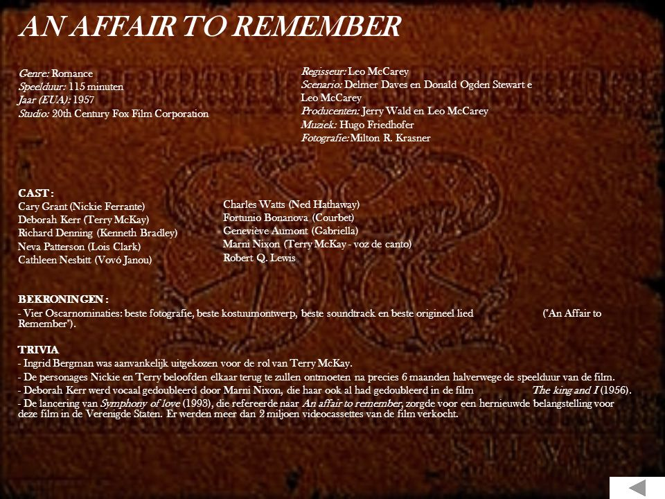 AN AFFAIR TO REMEMBER Genre: Romance Speelduur: 115 minuten