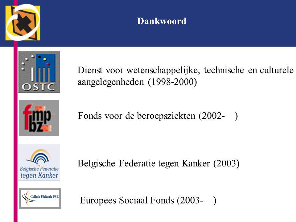 Dankwoord Dienst voor wetenschappelijke, technische en culturele. aangelegenheden (1998-2000) Fonds voor de beroepsziekten (2002- )