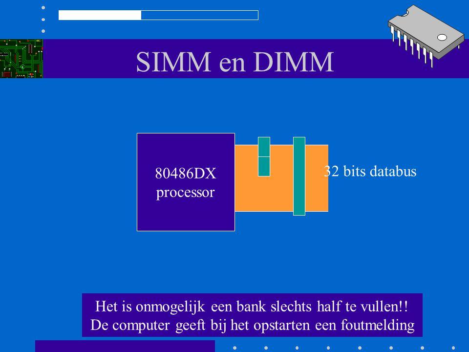 SIMM en DIMM 80486DX processor 32 bits databus