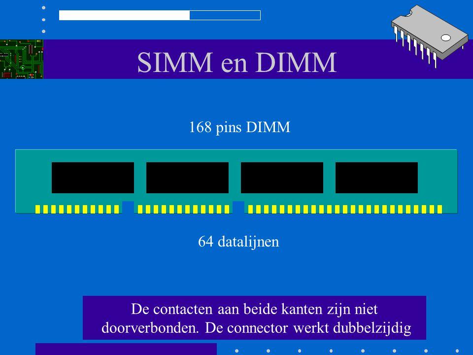 SIMM en DIMM 168 pins DIMM 64 datalijnen