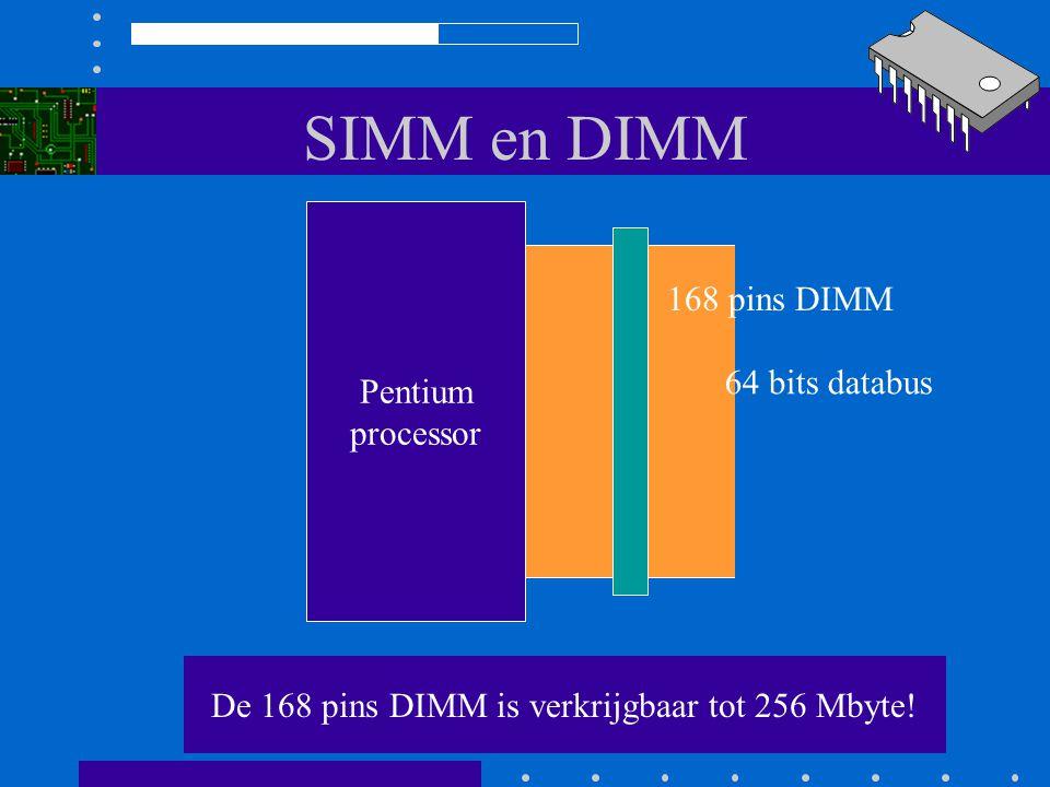 De 168 pins DIMM is verkrijgbaar tot 256 Mbyte!