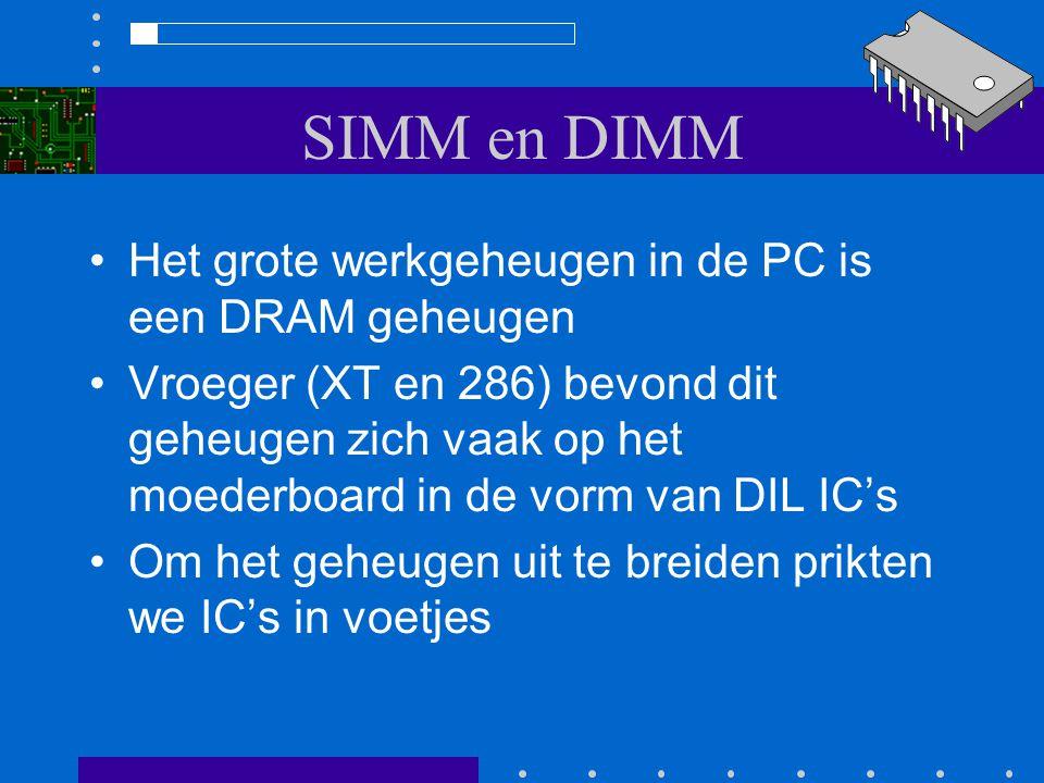 SIMM en DIMM Het grote werkgeheugen in de PC is een DRAM geheugen