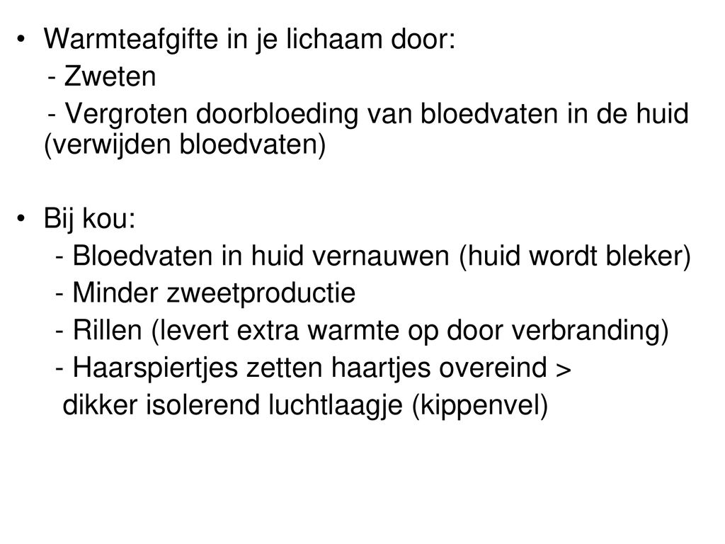 Warmteafgifte in je lichaam door: