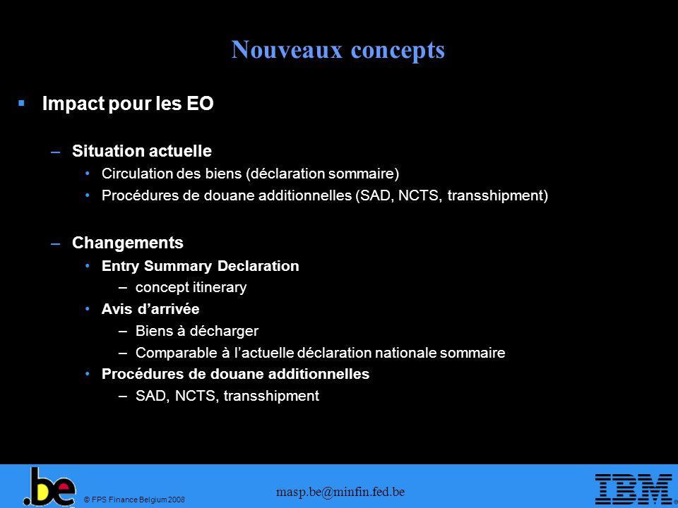 Nouveaux concepts Impact pour les EO Situation actuelle Changements