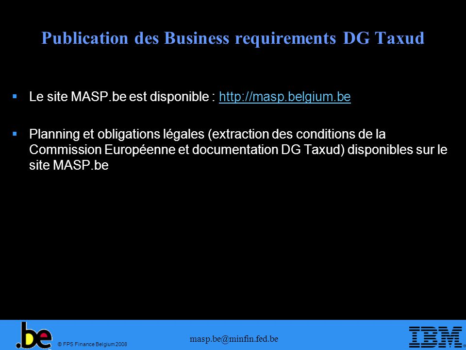 Publication des Business requirements DG Taxud