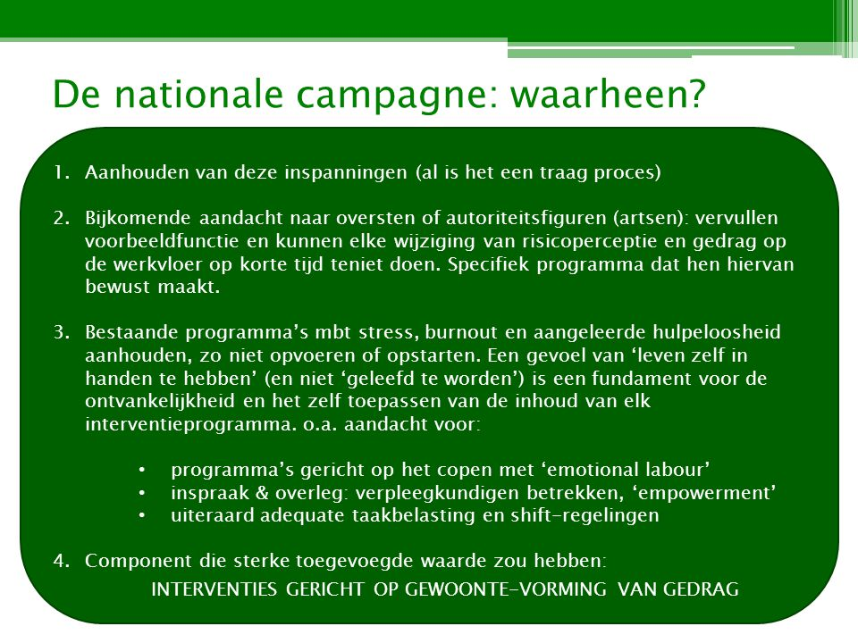 De nationale campagne: waarheen