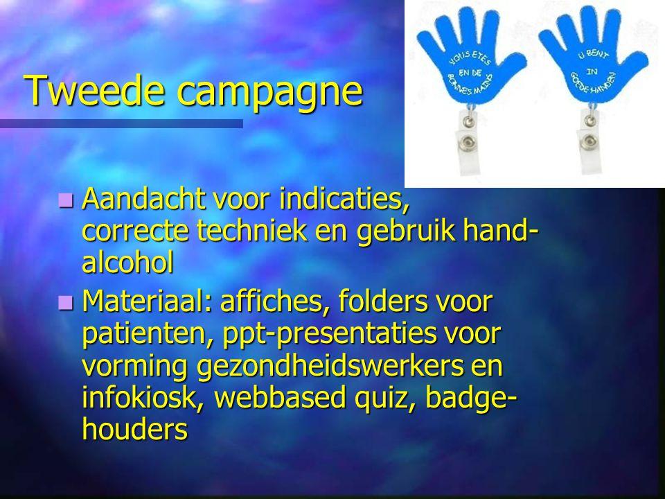 Tweede campagne Aandacht voor indicaties, correcte techniek en gebruik hand-alcohol.