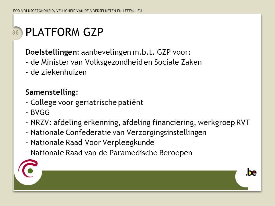 PLATFORM GZP Doelstellingen: aanbevelingen m.b.t. GZP voor: