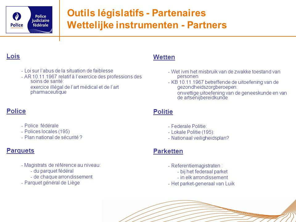 Outils législatifs - Partenaires Wettelijke instrumenten - Partners